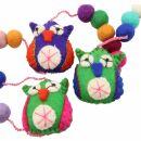 Decorative chain - garland - felt - owls 01
