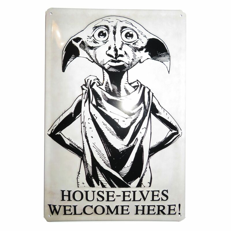 Geprägtes Blechschild 20x30 cm - Harry Potter - House-Elves Welcome Here! - Nostalgie Blech Schild