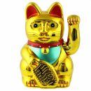 Glückskatze - Maneki-neko - Winkekatze - 13 cm - gold