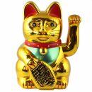 Glückskatze - Maneki-neko - Winkekatze - 15 cm - gold