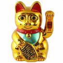 Glückskatze - Maneki-neko - Winkekatze - 18 cm - gold