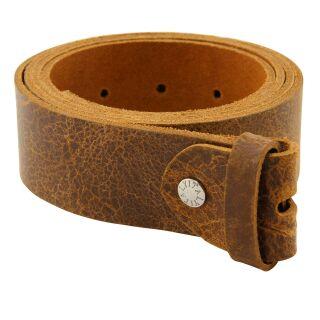 Gürtel ohne Schnalle - Ledergürtel - Belt - braun-cognac - cracked look - 4 cm