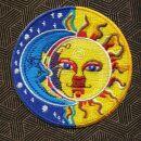 Aufnäher - Indien Sonne Mond - blau-gelb - Patch