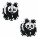 Aufnäher - Panda - mini schwarz-weiß 2er Set -...