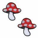 Patch - fungo - fungo velenoso - beige-rosso-bianco - toppa