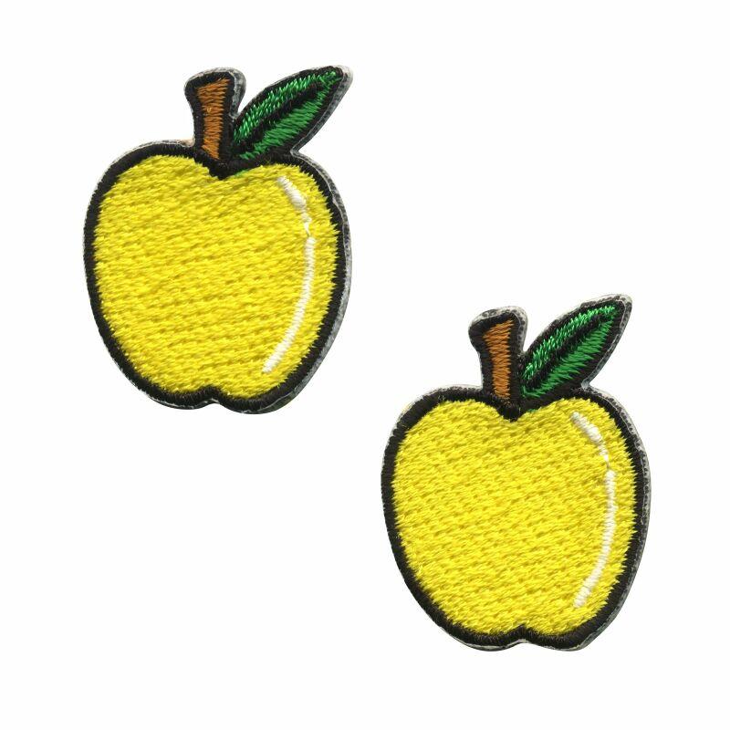 Aufnäher - Apfel - klein gelb 2er Set - Patch, 4.29
