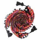 Kufiya premium - multicolor 01 - black - fringes and...
