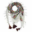 Kufiya plus blanco - Keffiyeh - Rainbow Stripes - franja...