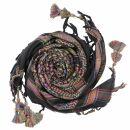 Kufiya premium - black - multicolor lines - fringes and...