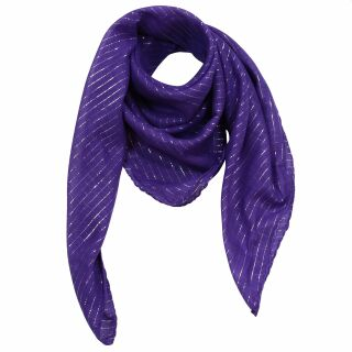 Cotton Scarf - purple Lurex silver - squared kerchief