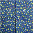 Cotton Scarf - Flowers blue - squared kerchief