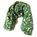 Cotton Scarf - Flowers green - squared kerchief