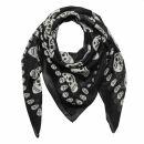 Cotton Scarf - Skulls 1 black - white - squared kerchief