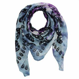 d5317ebbe5f977 Baumwolltuch - Totenköpfe 1 schwarz - blau tie dye 1 - quadratisches Tuch