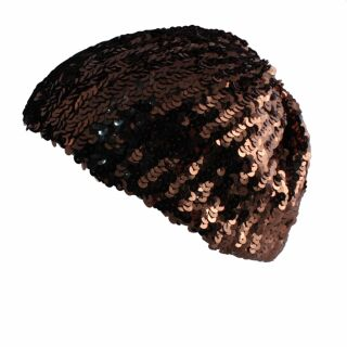 Paillettenmütze - braun - kakao - elastische Mütze aus Pailletten