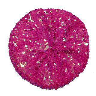 Paillettenmütze - pink - Schuppen - elastische Mütze aus Pailletten