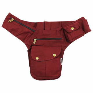 Premium Hip Bag - Buddy - red-bordeaux - brass-coloured -...