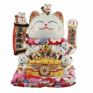 Lucky cat - Porcelain 25 cm white - High quality Maneki...