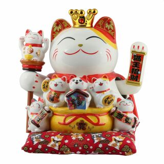 Lucky cat - Porcelain 30 cm white - High quality Maneki...