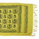 Prayer Shawl - Meditation Wrap - 55 x 22 inch - yellow - Om