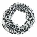 Chal - Leopardo 2 blanco - negro - 50x180 cm - Bufanda -...