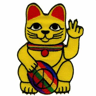 Aufnäher - Winkekatze - Peace Zeichen - Patch
