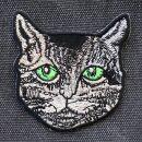 Aufnäher - Katzen Kopf - Augen grün - Patch