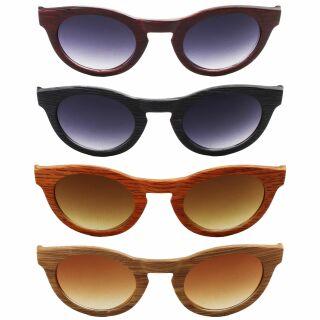 Sonnenbrille - Planet Woodlook - Retro Holzoptik - Retro - 6x5 cm - verschiedene Farben