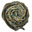 Dreiecktuch - Blumenmuster 1 - grau - orange - Halstuch