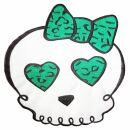 Parche grande - Calavera con corazon y pajarita - verde