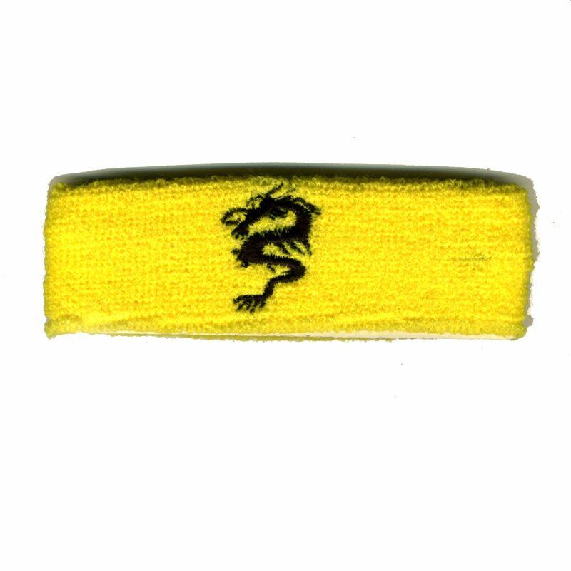 gelb Drache Stirnband bestickt