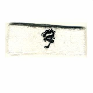 Stirnband bestickt - Drache - weiß