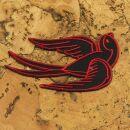 Patch - rondine - nero-rosso - testa destra - toppa