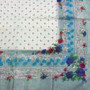 Baumwolltuch - Blumenmuster 2 grau - quadratisches Tuch
