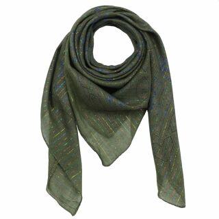 Baumwolltuch - Indisches Muster 1 - olivgrün Lurex mehrfarbig - quadratisches Tuch