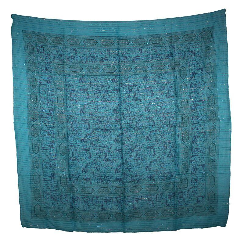 türkis Lurex silber quadratisches Tuch Baumwolltuch Indisches Muster 1