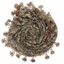 Dreiecktuch - Blumenmuster - braun - Halstuch
