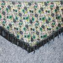 Dreiecktuch - Blumenmuster 1 - grau - grün - Halstuch