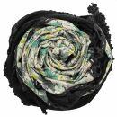 Dreiecktuch - Blumenmuster 1 - schwarz - grün -...
