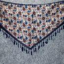 Dreiecktuch - Blumenmuster 1 - grau - blau - Halstuch