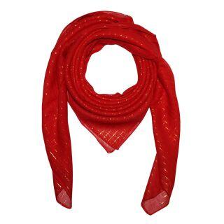 Pañuelo de algodón - rojo Lúrex oro - Pañuelo cuadrado para el cuello
