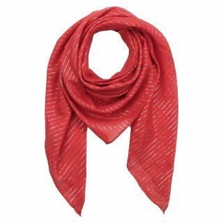 Pañuelo de algodón - rojo Lúrex plata - Pañuelo cuadrado para el cuello