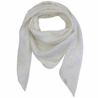 Baumwolltuch - weiß Lurex silber - quadratisches Tuch