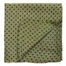 Pañuelo de algodón - Estrellas 0,7 cm verde-oliva - roja Lúrex plata - Pañuelo cuadrado para el cuello
