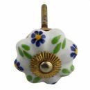Möbelknauf aus Keramik Shabby Chic Rosette - Blume -...