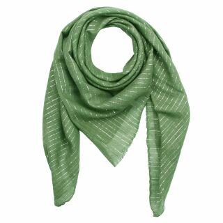 Baumwolltuch - grün Lurex silber - quadratisches Tuch