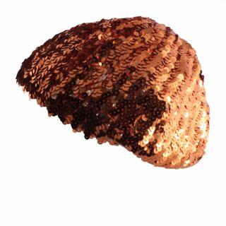 Cappello con paillettes - arancione - cappello elastico in paillettes