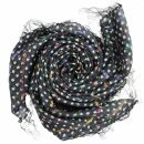 Sciarpa di cotone - stelle 0,7 cm nero - bianco lurex multicolore - foulard quadrato