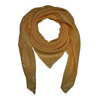 Cotton Scarf - yellow Lurex silver - squared kerchief