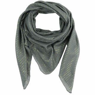 Cotton Scarf - grey - dark Lurex gold - squared kerchief